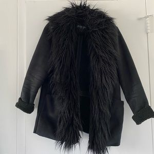 Nasty gal fur collared suede Like jacket
